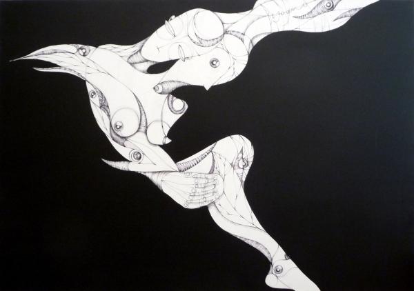 acrilico.matita.biro su tela 100×70